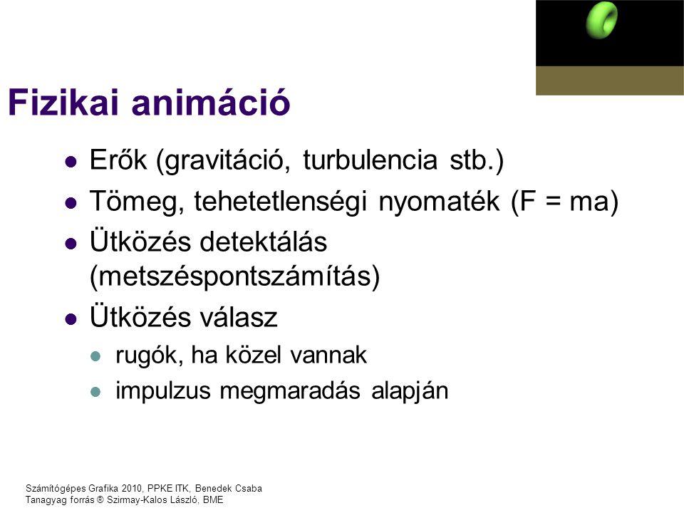 Fizikai animáció Erők (gravitáció, turbulencia stb.)