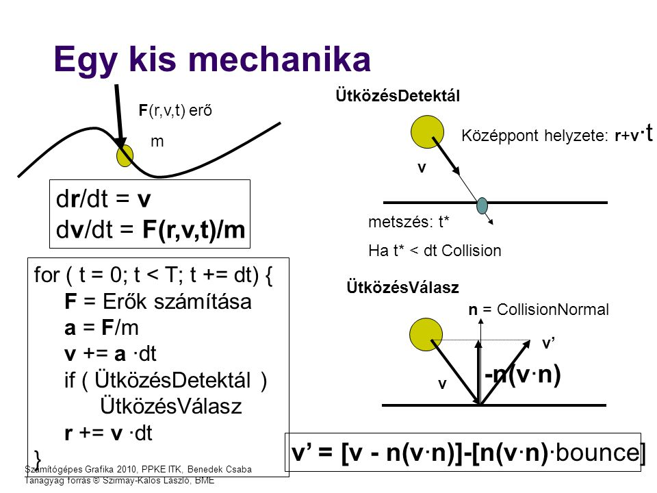 Egy kis mechanika dr/dt = v dv/dt = F(r,v,t)/m -n(v·n)