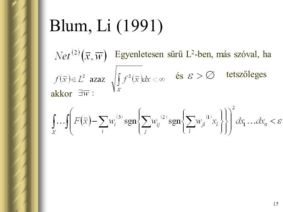Blum, Li (1991) Egyenletesen sűrű L2-ben, más szóval, ha tetszőleges