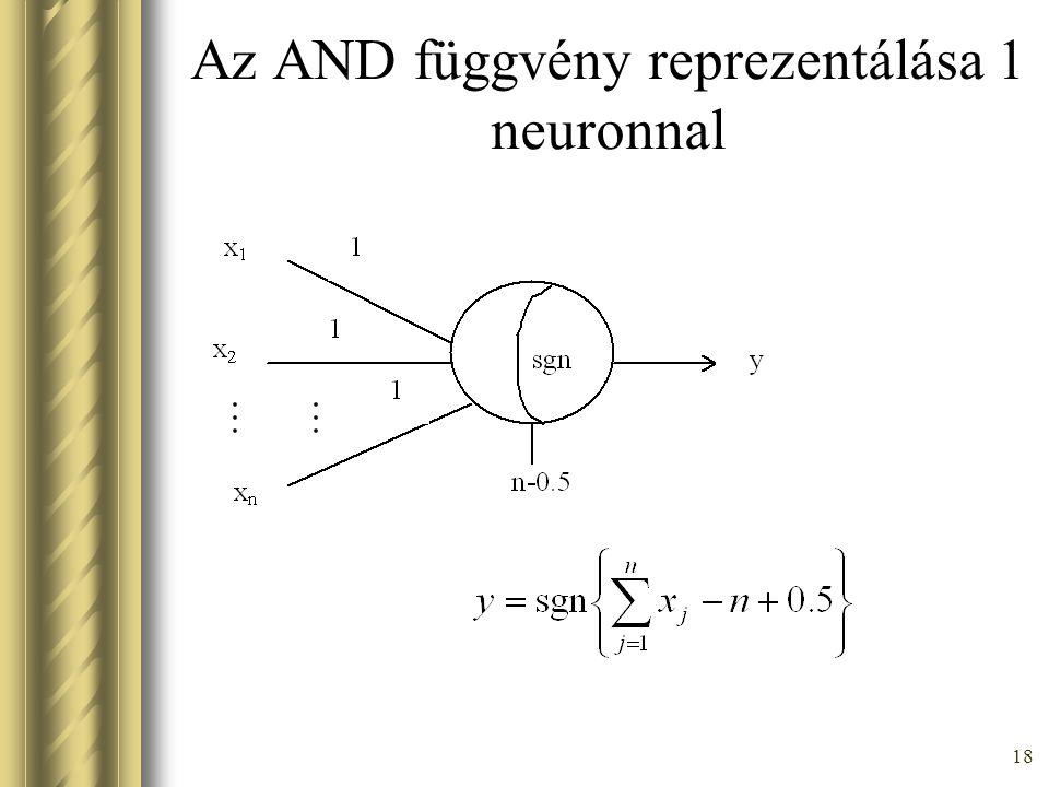 Az AND függvény reprezentálása 1 neuronnal