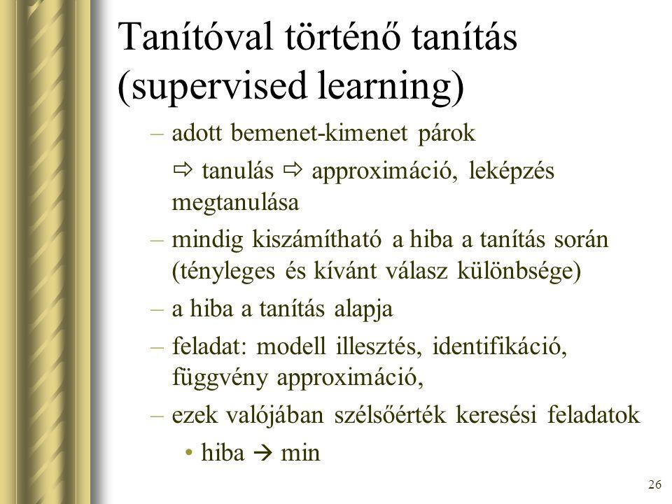 Tanítóval történő tanítás (supervised learning)