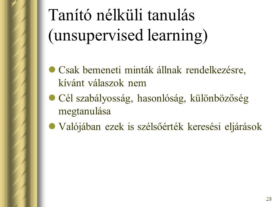 Tanító nélküli tanulás (unsupervised learning)