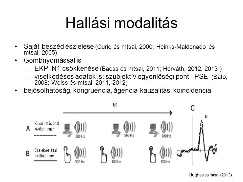 Hallási modalitás Saját-beszéd észlelése (Curio és mtsai, 2000; Heinks-Maldonado és mtsai, 2005) Gombnyomással is.