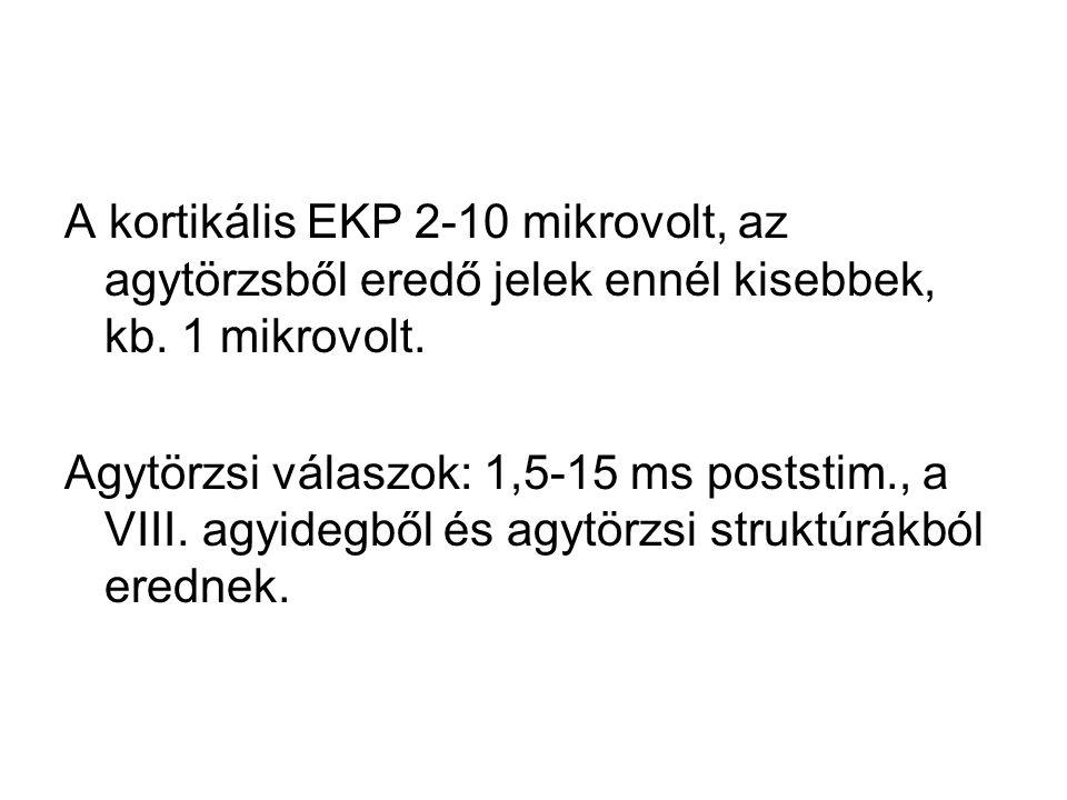 A kortikális EKP 2-10 mikrovolt, az agytörzsből eredő jelek ennél kisebbek, kb. 1 mikrovolt.