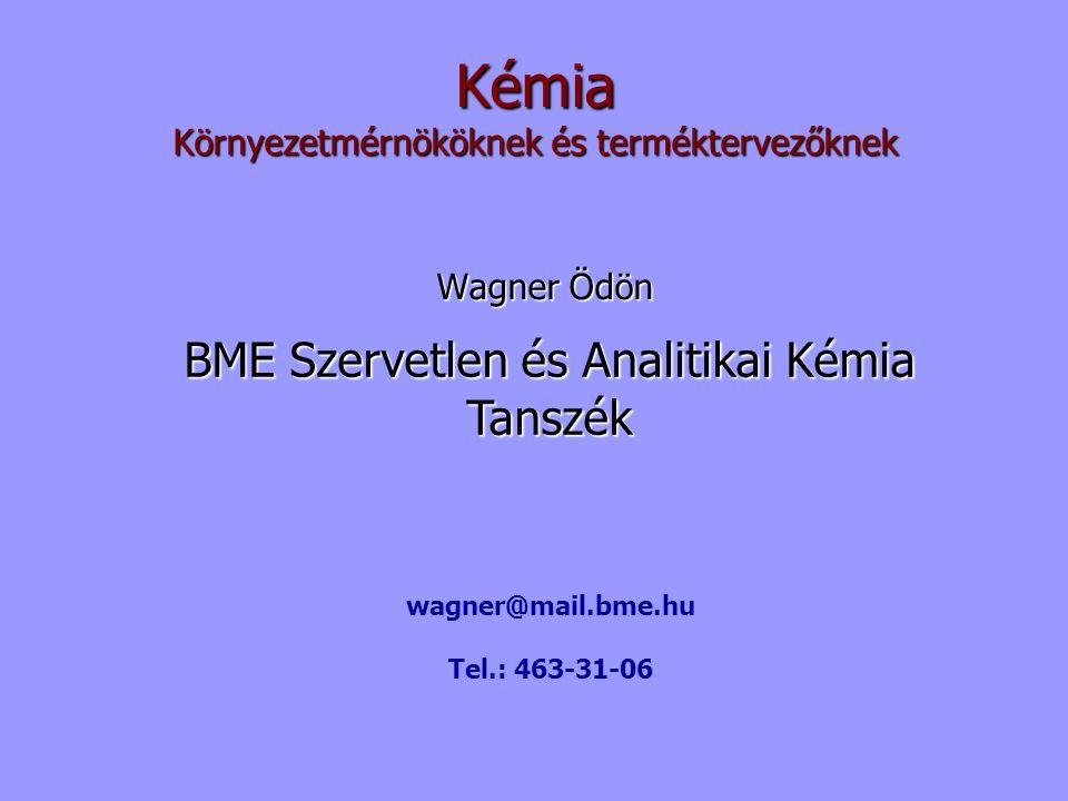 Kémia Wagner Ödön BME Szervetlen és Analitikai Kémia Tanszék