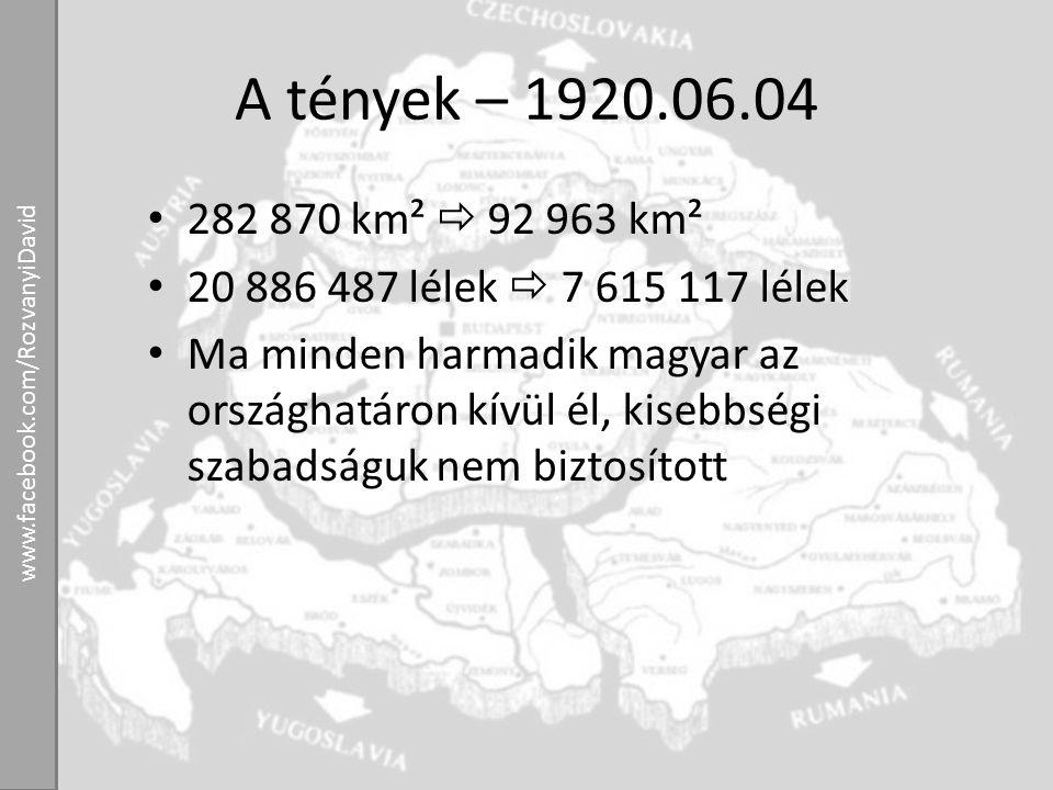A tények – 1920.06.04 282 870 km²  92 963 km². 20 886 487 lélek  7 615 117 lélek.