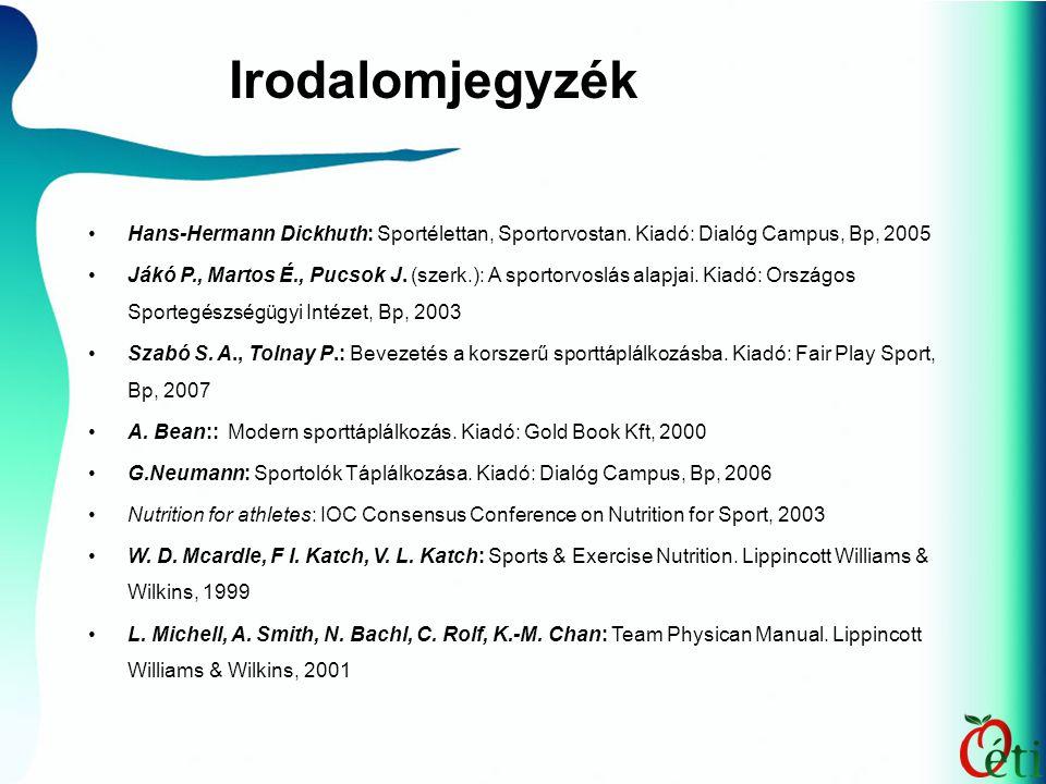 Irodalomjegyzék Hans-Hermann Dickhuth: Sportélettan, Sportorvostan. Kiadó: Dialóg Campus, Bp, 2005.
