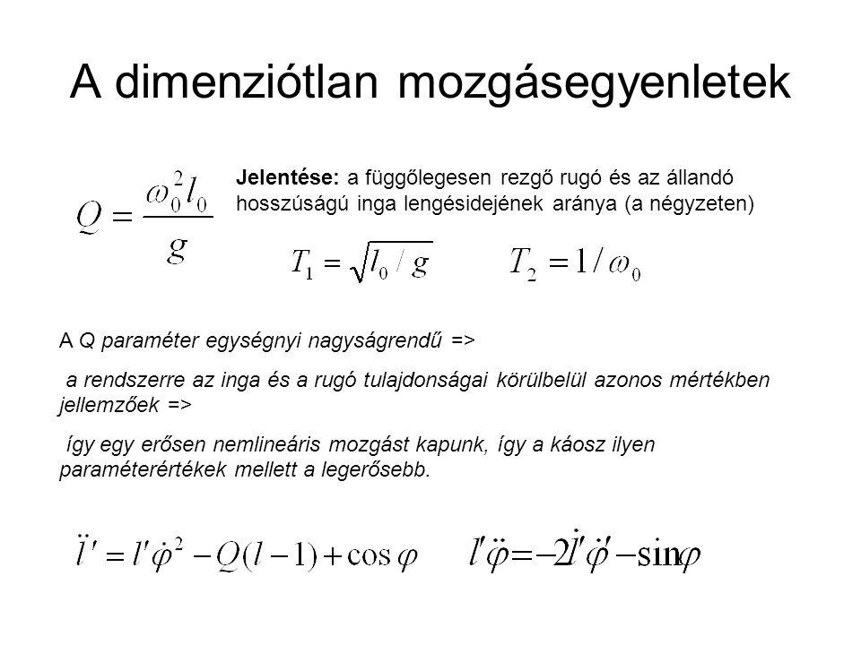 A dimenziótlan mozgásegyenletek