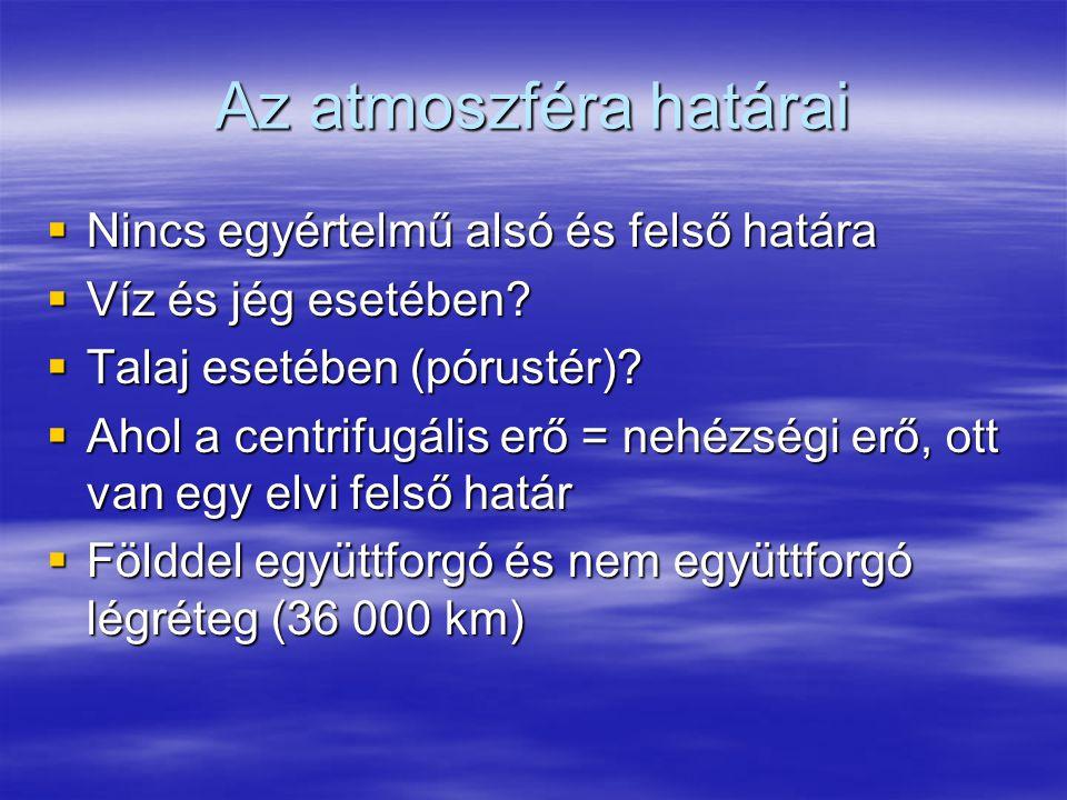 Az atmoszféra határai Nincs egyértelmű alsó és felső határa