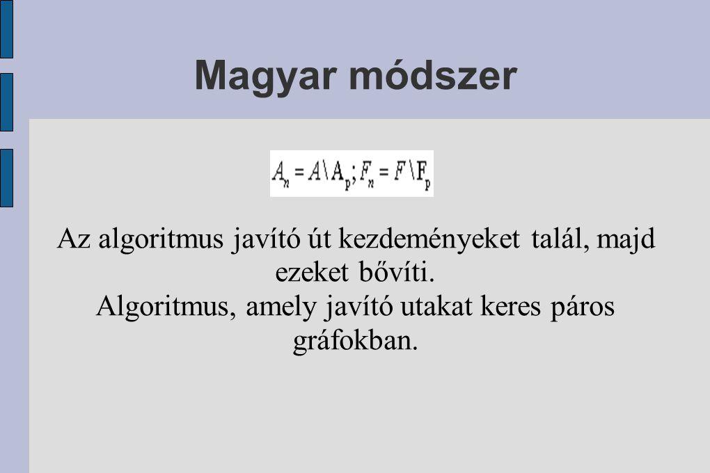 Magyar módszer Az algoritmus javító út kezdeményeket talál, majd ezeket bővíti.