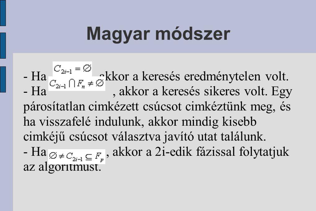 Magyar módszer - Ha , akkor a keresés eredménytelen volt.