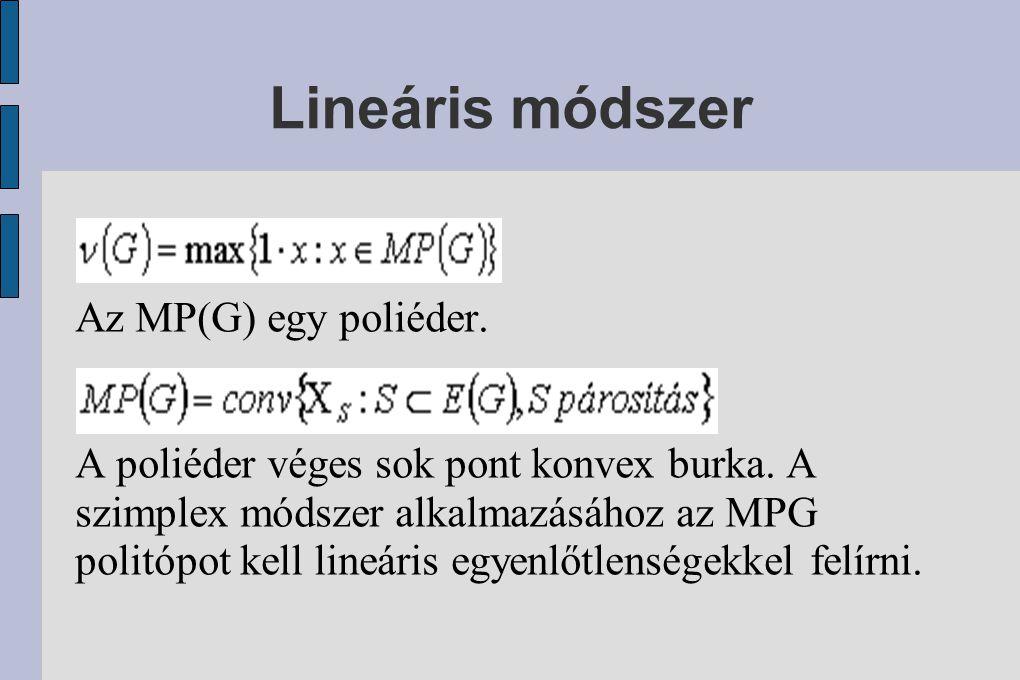 Lineáris módszer Az MP(G) egy poliéder.