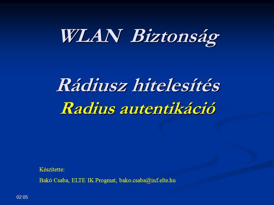 WLAN Biztonság Rádiusz hitelesítés Radius autentikáció