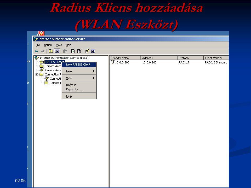 Radius Kliens hozzáadása (WLAN Eszközt)
