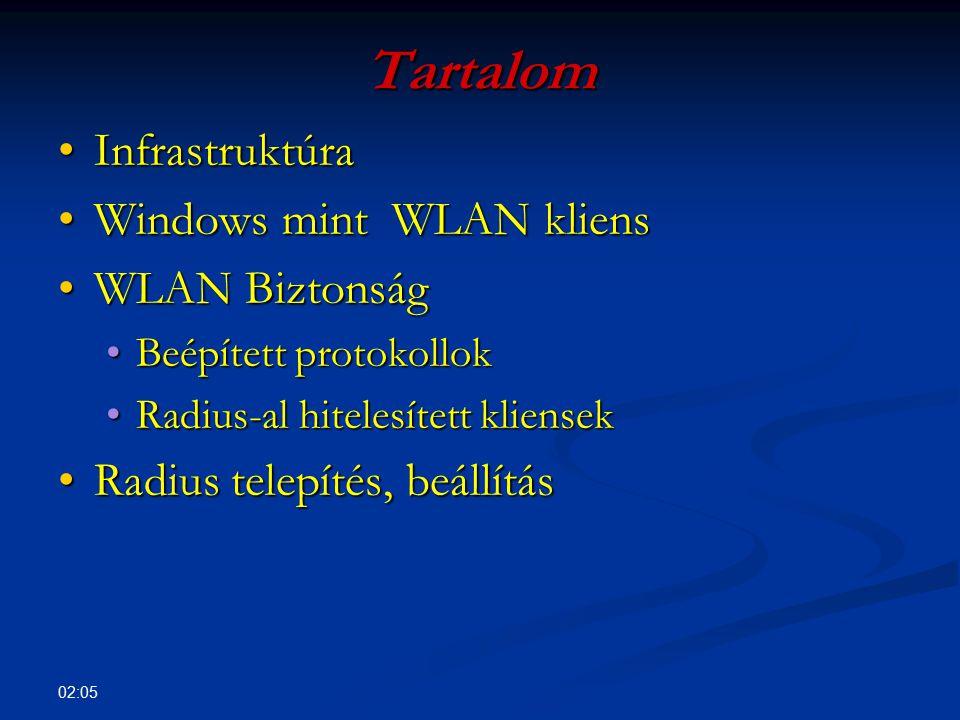 Tartalom Infrastruktúra Windows mint WLAN kliens WLAN Biztonság