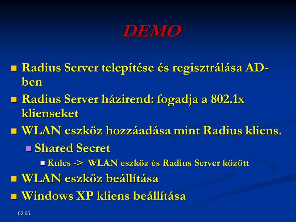 DEMO Radius Server telepítése és regisztrálása AD-ben