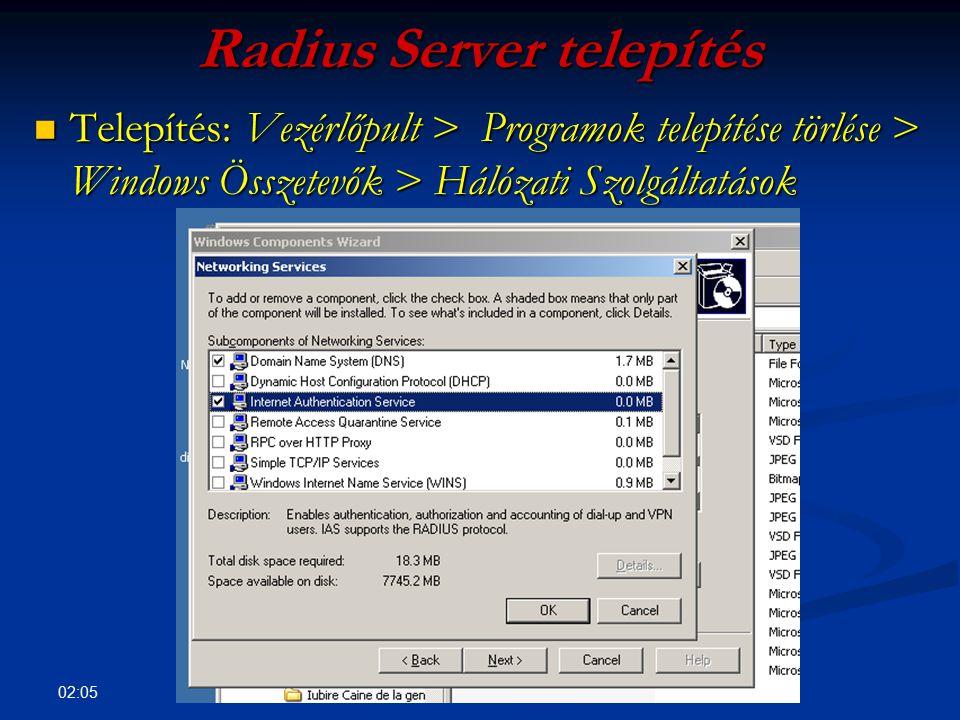 Radius Server telepítés