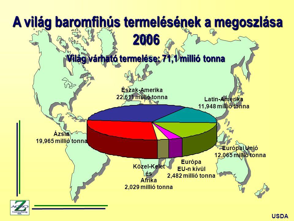A világ baromfihús termelésének a megoszlása