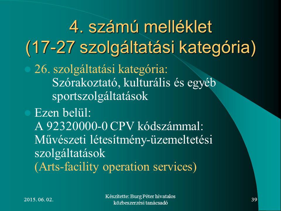 4. számú melléklet (17-27 szolgáltatási kategória)