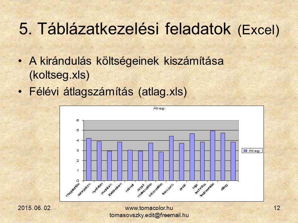 5. Táblázatkezelési feladatok (Excel)
