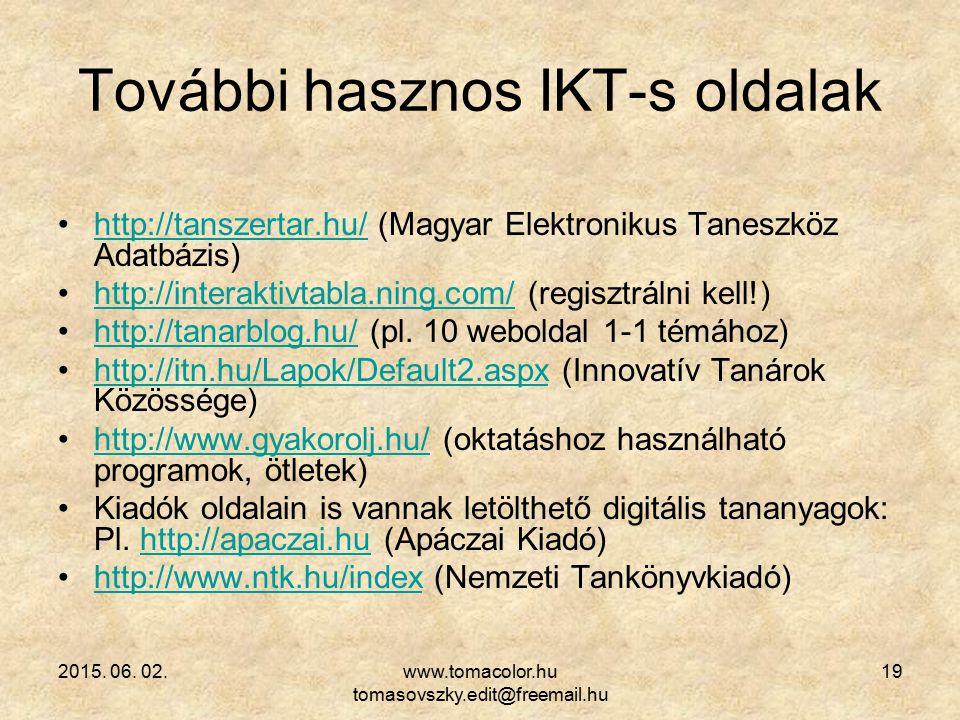 További hasznos IKT-s oldalak