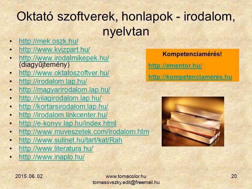 Oktató szoftverek, honlapok - irodalom, nyelvtan