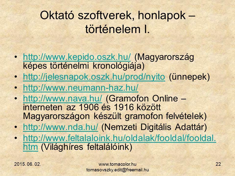 Oktató szoftverek, honlapok – történelem I.