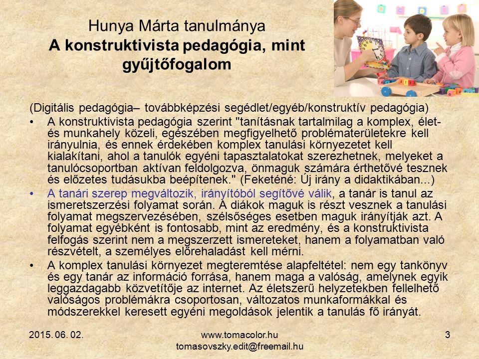 Hunya Márta tanulmánya A konstruktivista pedagógia, mint gyűjtőfogalom