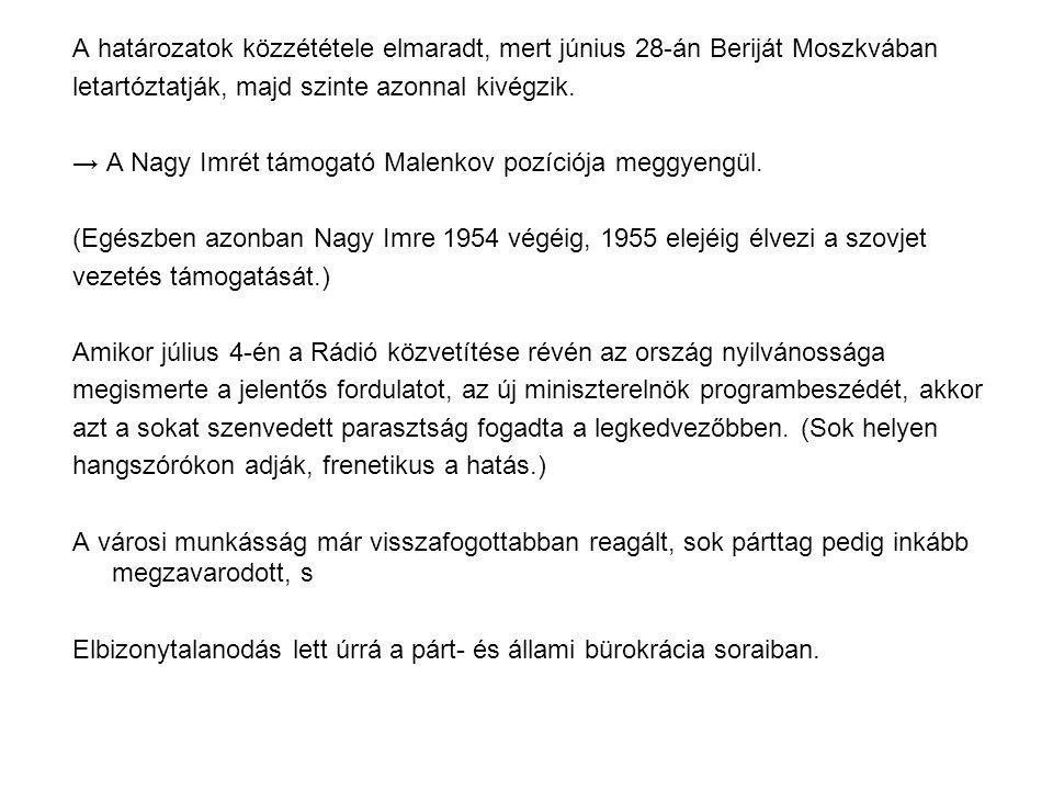 A határozatok közzététele elmaradt, mert június 28-án Beriját Moszkvában