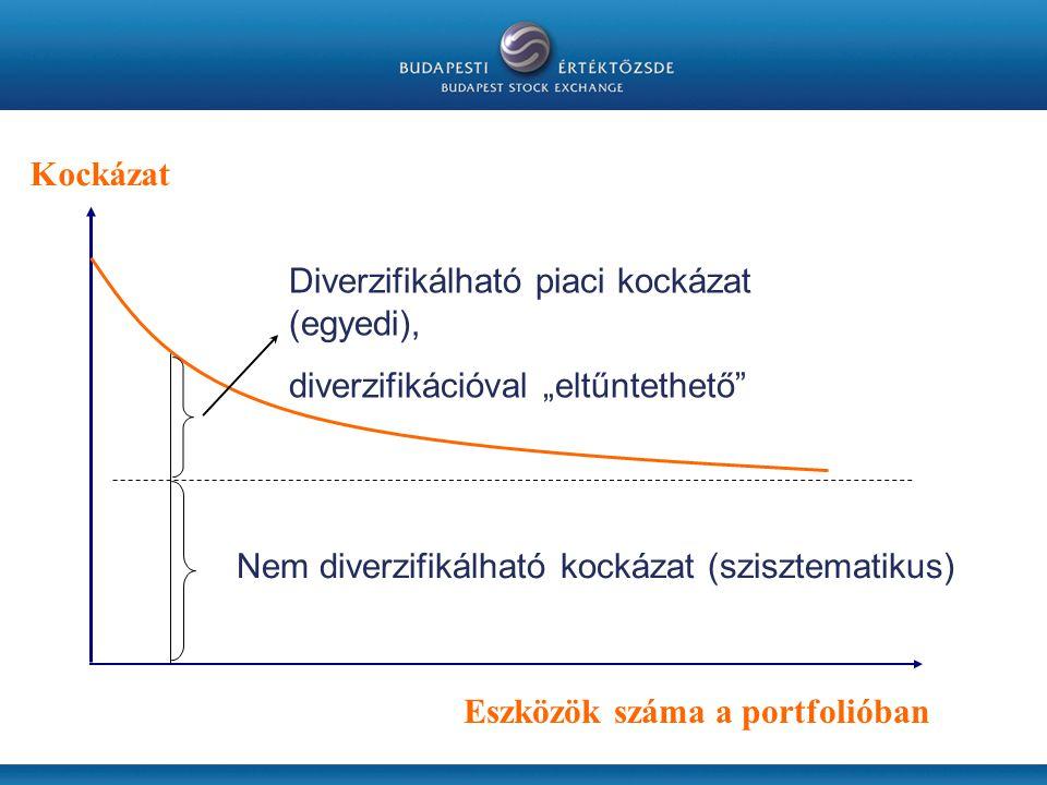 """Kockázat Diverzifikálható piaci kockázat (egyedi), diverzifikációval """"eltűntethető Nem diverzifikálható kockázat (szisztematikus)"""