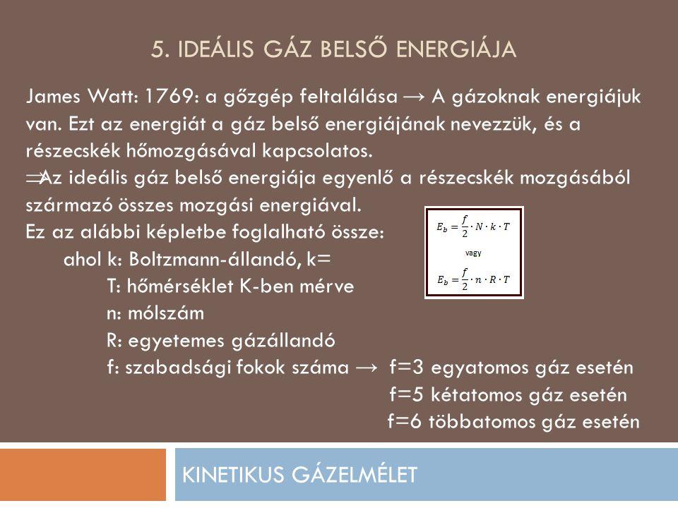 5. IDEÁLIS GÁZ BELSŐ ENERGIÁJA