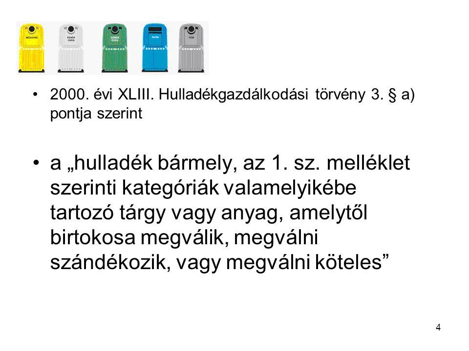 2000. évi XLIII. Hulladékgazdálkodási törvény 3. § a) pontja szerint