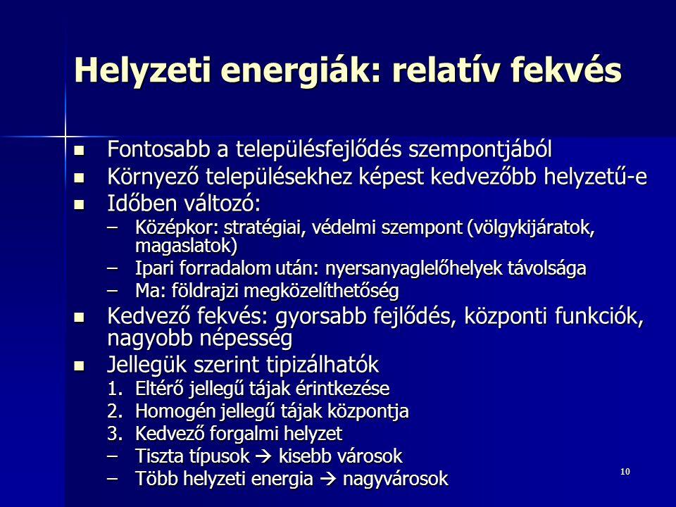 Helyzeti energiák: relatív fekvés