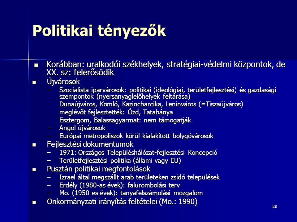 Politikai tényezők Korábban: uralkodói székhelyek, stratégiai-védelmi központok, de XX. sz: felerősödik.