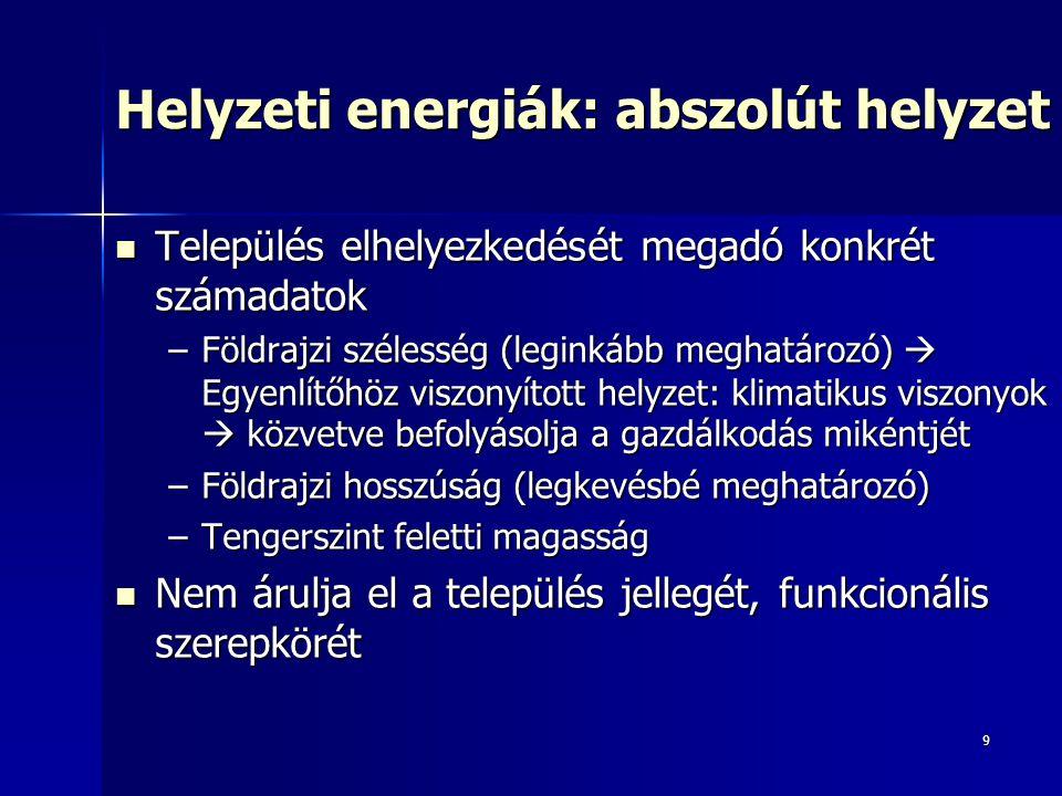 Helyzeti energiák: abszolút helyzet