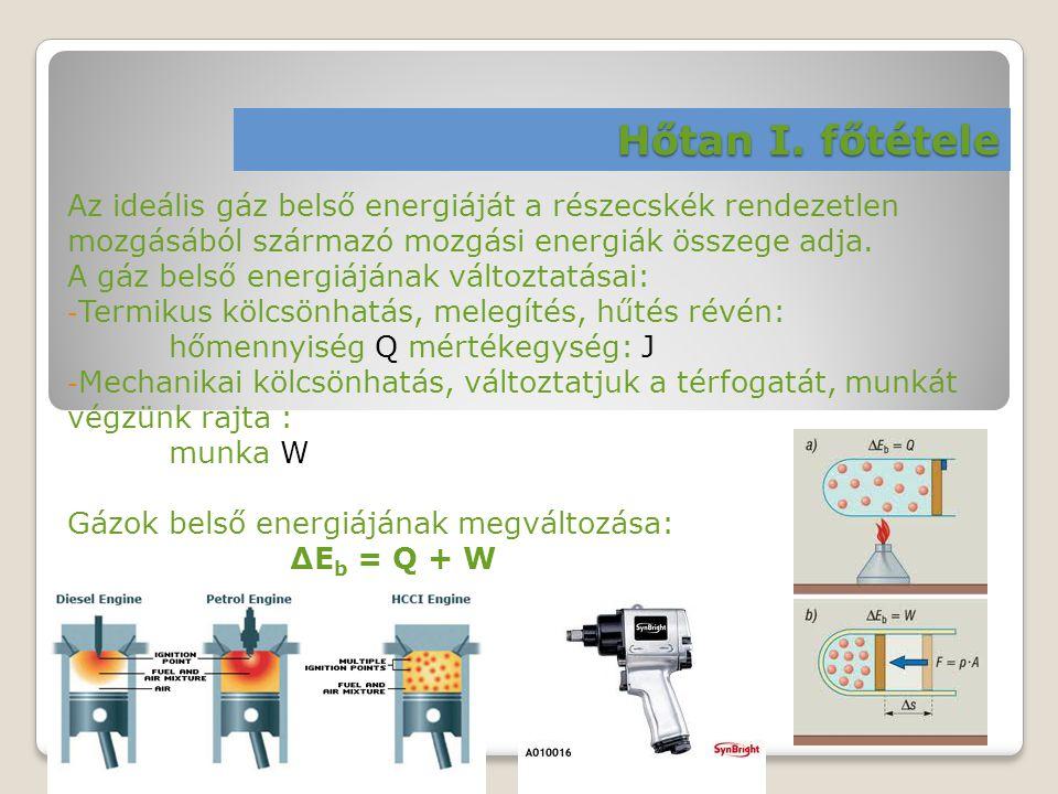 Hőtan I. főtétele Az ideális gáz belső energiáját a részecskék rendezetlen mozgásából származó mozgási energiák összege adja.
