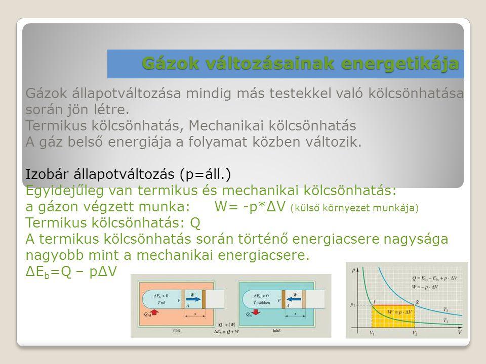 Gázok változásainak energetikája