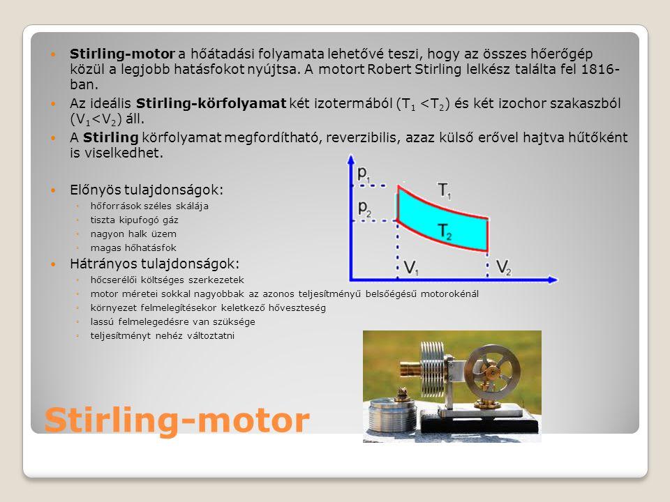 Stirling-motor a hőátadási folyamata lehetővé teszi, hogy az összes hőerőgép közül a legjobb hatásfokot nyújtsa. A motort Robert Stirling lelkész találta fel 1816- ban.