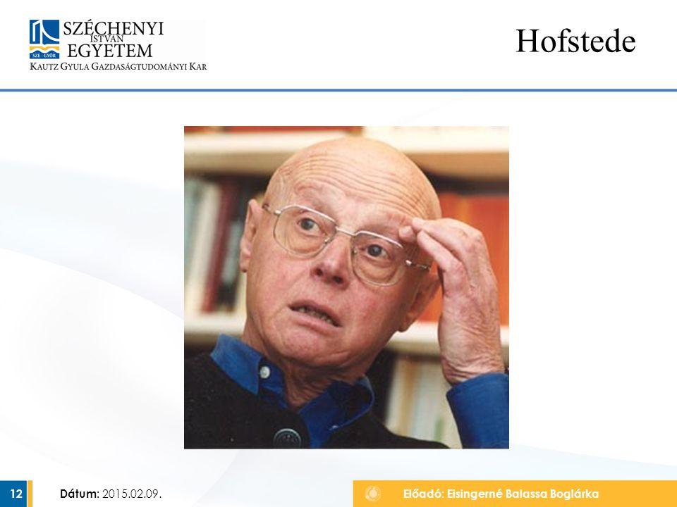 Hofstede Dátum: 2015.02.09. Előadó: Eisingerné Balassa Boglárka