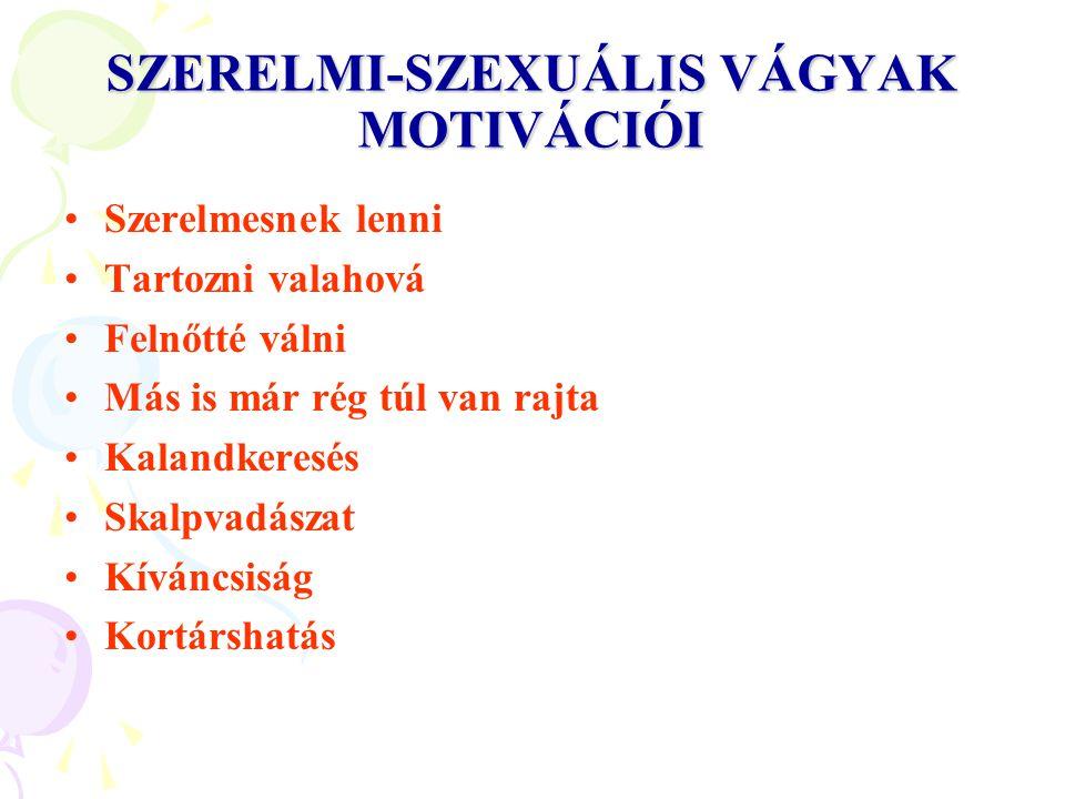 SZERELMI-SZEXUÁLIS VÁGYAK MOTIVÁCIÓI