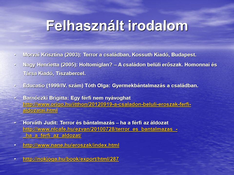 Felhasznált irodalom Morvai Krisztina (2003): Terror a családban, Kossuth Kiadó, Budapest.