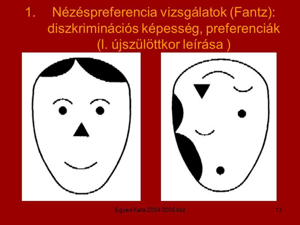 Nézéspreferencia vizsgálatok (Fantz): diszkriminációs képesség, preferenciák (l. újszülöttkor leírása )