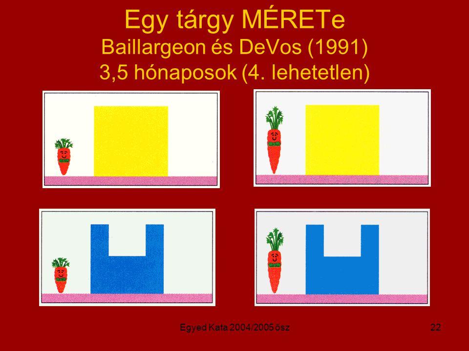 Egy tárgy MÉRETe Baillargeon és DeVos (1991) 3,5 hónaposok (4
