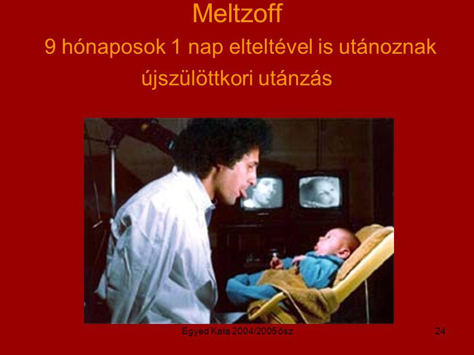Meltzoff 9 hónaposok 1 nap elteltével is utánoznak újszülöttkori utánzás