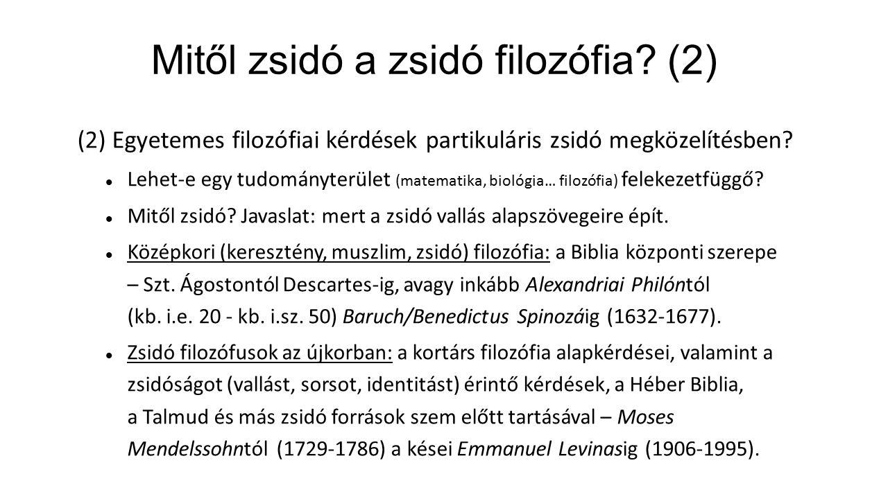 Mitől zsidó a zsidó filozófia (2)