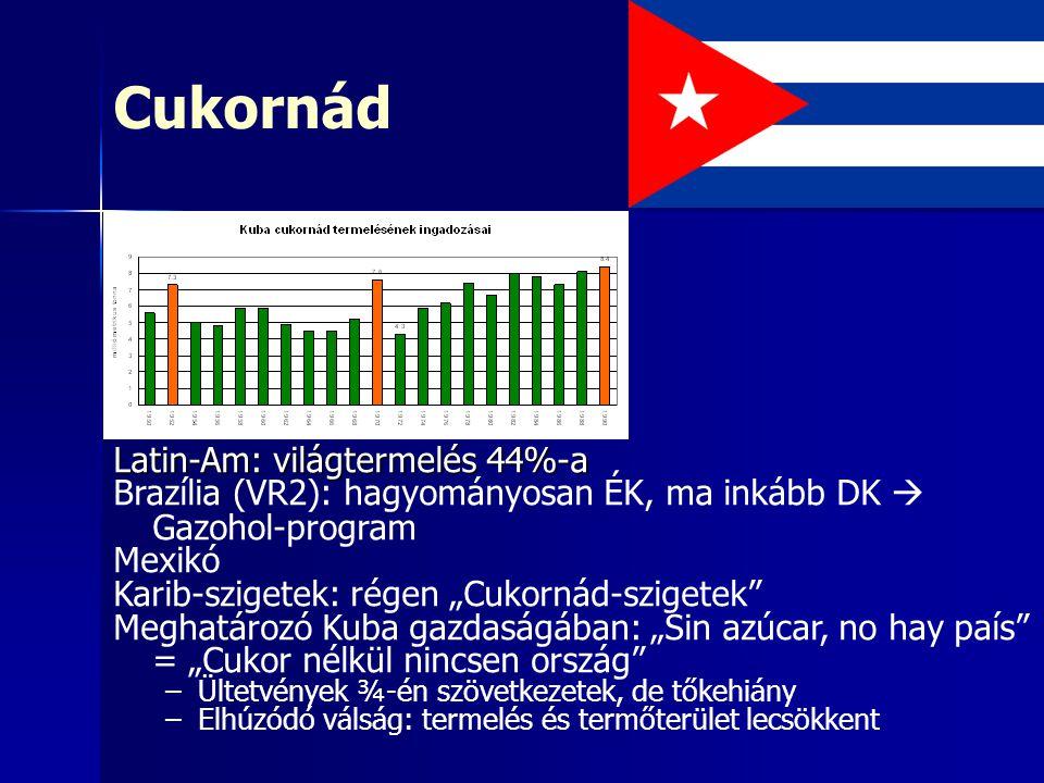 Cukornád Latin-Am: világtermelés 44%-a