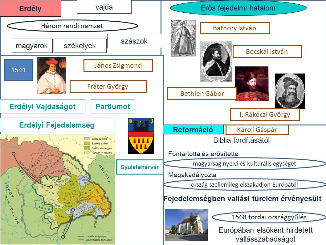 Erdély Erdélyi Vajdaságot Partiumot Erdélyi Fejedelemség Reformáció