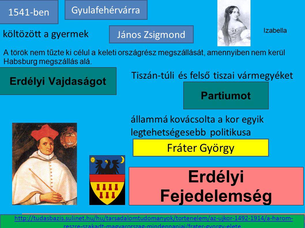 Erdélyi Fejedelemség Fráter György Gyulafehérvárra 1541-ben