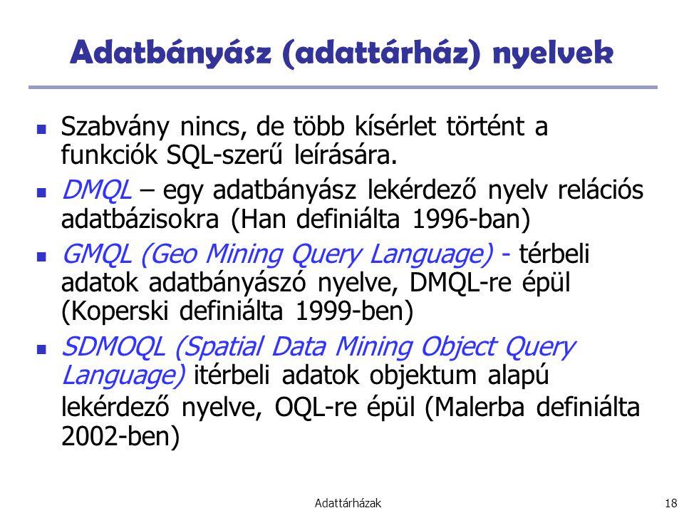 Adatbányász (adattárház) nyelvek