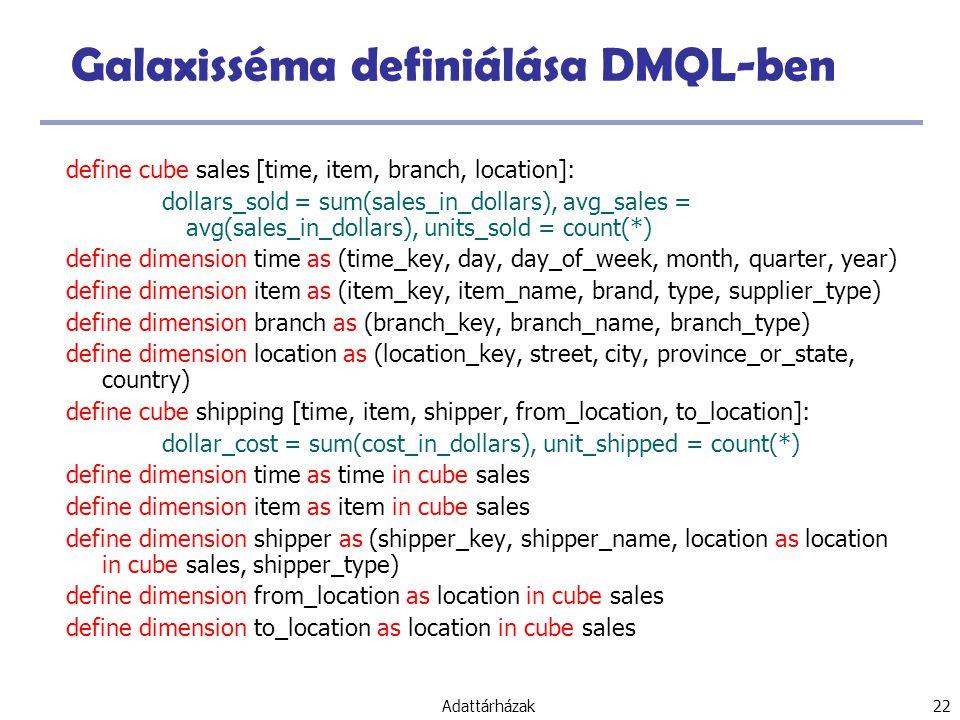 Galaxisséma definiálása DMQL-ben